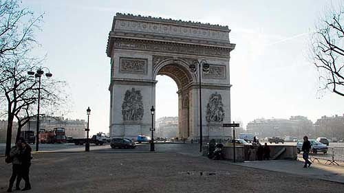 The Arc de Triomphe - morning on Friday, after the big morning jam around the Etoile is over and traffic is fluid enough to be exciting–