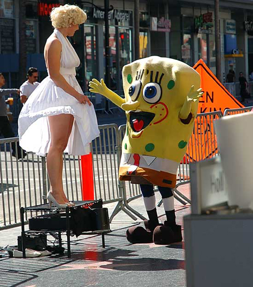Marilyn Monroe and SpongeBob SquarePants - impersonators on HollywoodBoulevard
